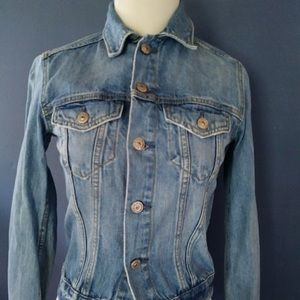 Levis Denim Fitted DISTRESSED Jean Jacket XS